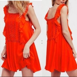 Free People Dresses - NWT FREE PEOPLE TANGERINE CROCHET DRESS